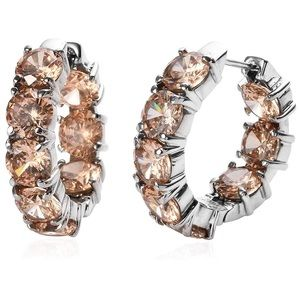 Champagne CZ stainless steal hoops